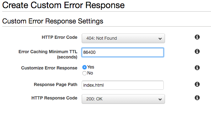 screen shot of cloudfront custom error response